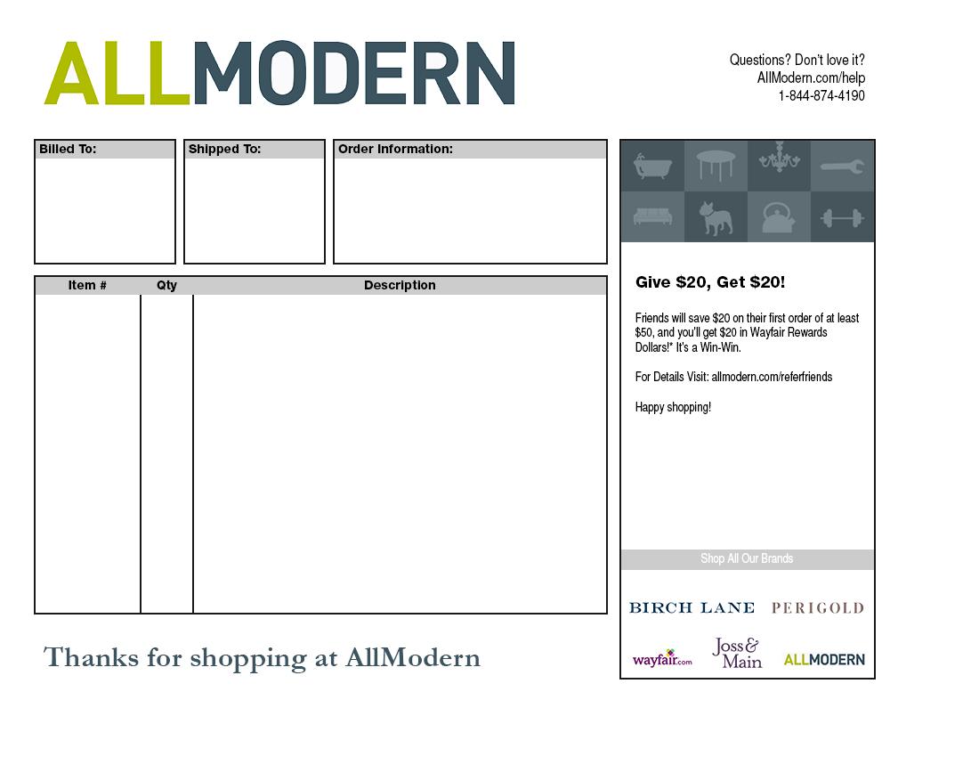AllModern Packing Slip Template
