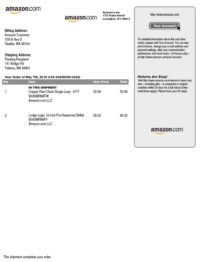 Amazon Packing Slip Template