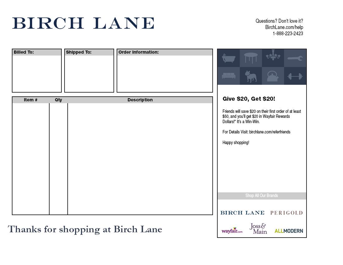 Birch Lane Packing Slip Template