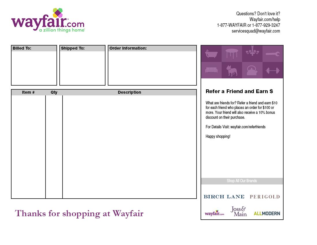 Wayfair Packing Slip Template