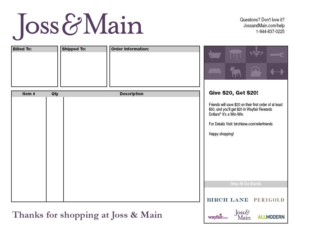 Joss & Main Packing Slip Template