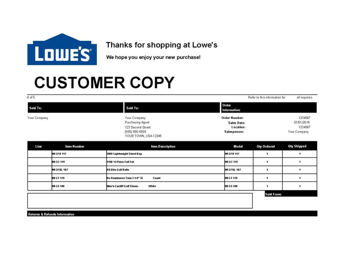 Lowe's Packing Slip Template